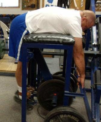 "Al Myers demostrating the ""bottom position"" of a Reverse Hyperextension."